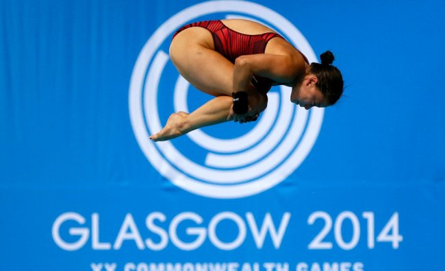 Roseline Filion of Canada competes in the women\'s 10m Platform final at the 2014 Commonwealth...