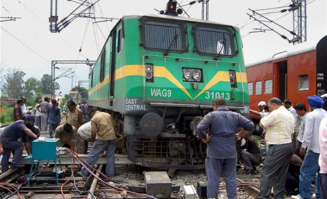 Restoration work is carried out after a rail engine derailed in Ambala ...