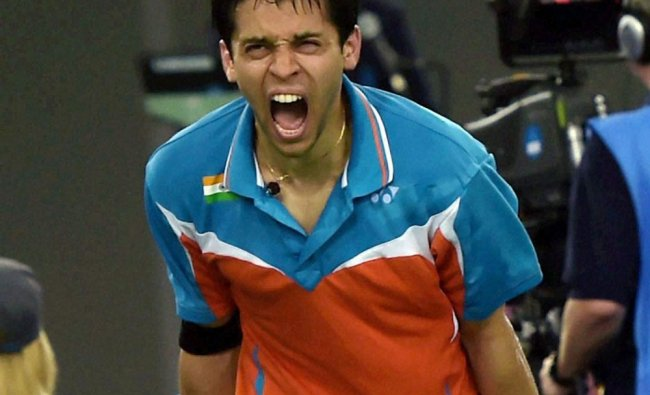 India\'s Kashyap Parupalli celebrates after winning the semifinal match against England ...