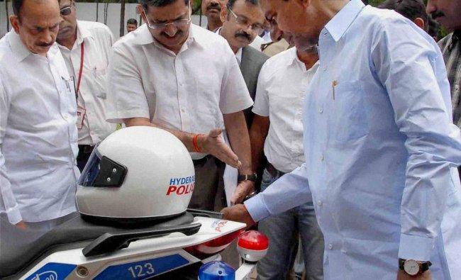 Telangana Chief Minister K.Chandrashekar Rao inspecting newly designed police vehicles ...