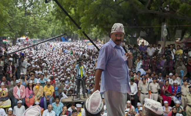 Arvind Kejriwal during a rally in support of their demands of dissolution of Delhi\'s Legislative ..