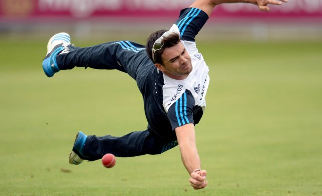 England\'s Anderson drops a catch during a training session before the fourth test ...