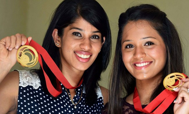 CWG squash gold medalists Dipika Pallikal and Joshna Chinappa pose with their medals ...