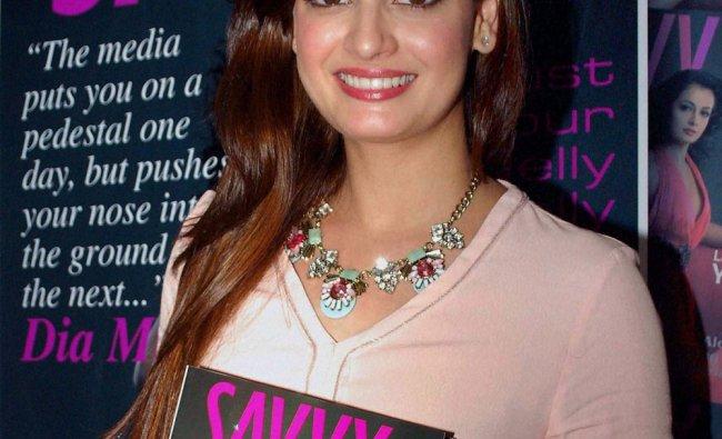 Bollywood actress Dia Mirza during a promotional event in Mumbai ...