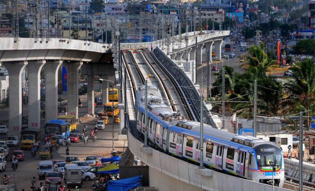 A Hyderabad metro train taking its first trial test between Nagole Depot to Survey of India ...