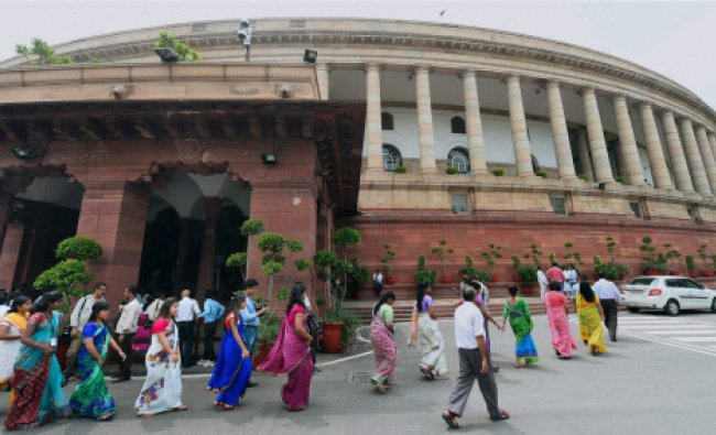 A group of visitors at Parliament House in New Delhi...
