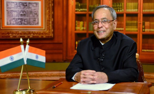 President Pranab Mukherjee addressing the Nation on the eve of 68th Independence Day in New Delhi...