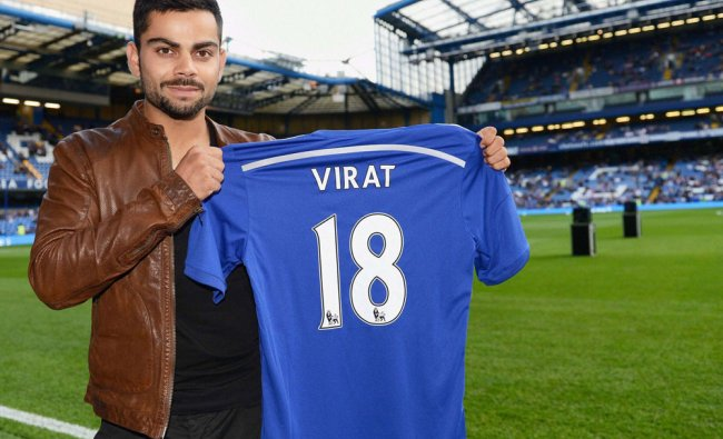 Chelsea Fan and Indian cricketer Virat Kohli on the pitch before a pre season friendly match...
