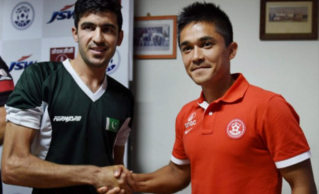 Indian Football Captain Sunil Chettri greets his counterpart from Pakistan Kaleemulla...