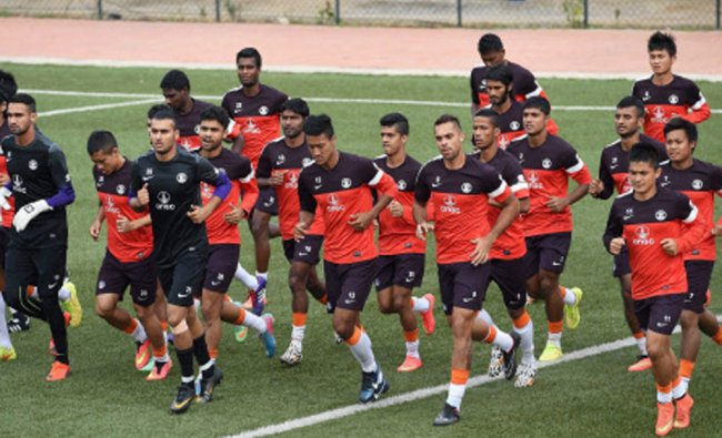 Indian Football Captain Sunil Chettri with other team mates during a practice session in Bangalore..