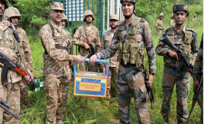 Pakistan and Indian troops exchanged sweets in Chakan-da-Bagh on Independence Day...