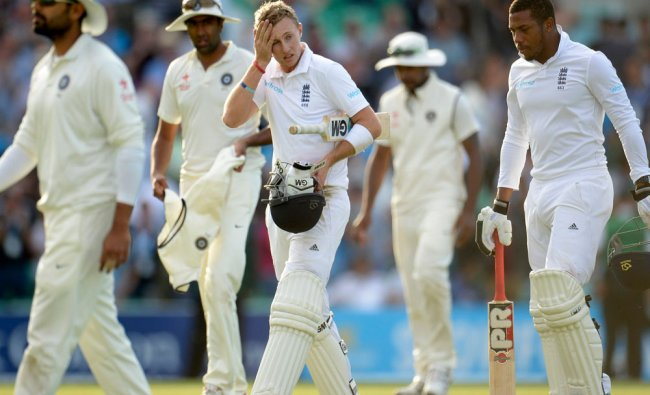 England\'s Root leaves the field on 92 not out during the fifth cricket test match against India...