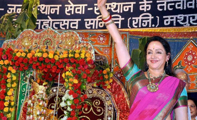 Bollywood actress and BJP MP Hemamalini during Janmashtami celebrations at Sri Krishna...