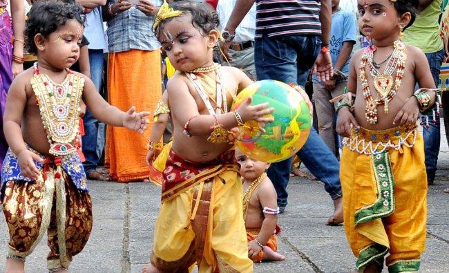 Children dressed up as Lord Krishna on the event of Sri Krishna Janmashtami celebration at Kadri...