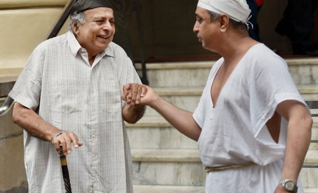 Parsi community members celebrate their new year outside the fire temple in Mumbai on...
