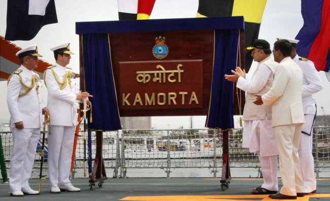 Arun Jaitley during the commissioning of Anti-Submarine Warfare Corvette INS Kamorta ...
