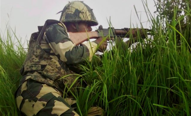 A BSF jawan at the India-Pakistan border in Arnia Sector near Jammu ...