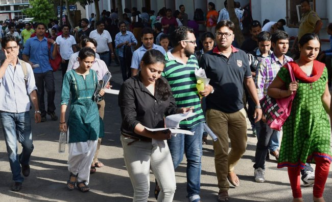 UPSC aspirants leave examination centre after their exam in New Delhi ...