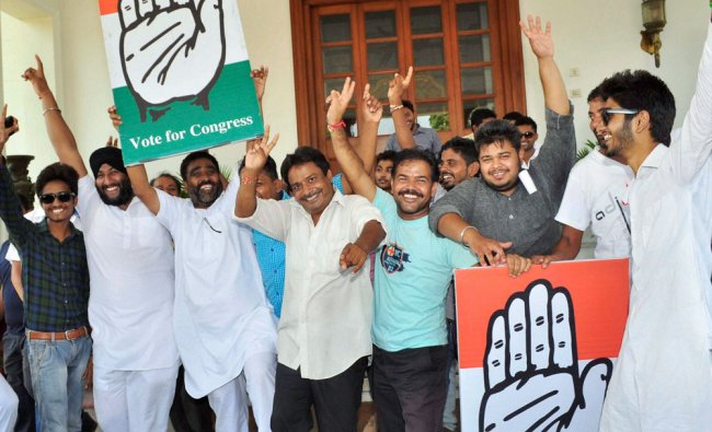Congress supporters celebrate Preneet Kaur\'s victory in Patiala Assembly bypolls, in Patiala ...