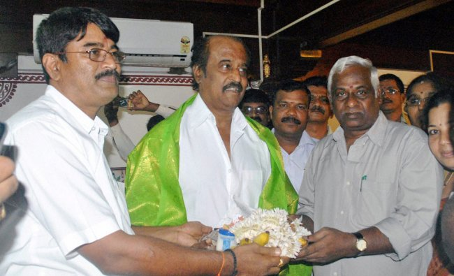 Actor Rajinikanth being fecilitated during a visit to Kollur Mookambika Temple in Mangalore ...