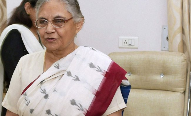 Sheila Dikshit after a press conference following her resignation as Kerala Governor in New Delhi ..