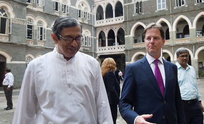 Nick Clegg with St Xavier\'s College Principal Father Frazer Mascarenhas in Mumbai ...