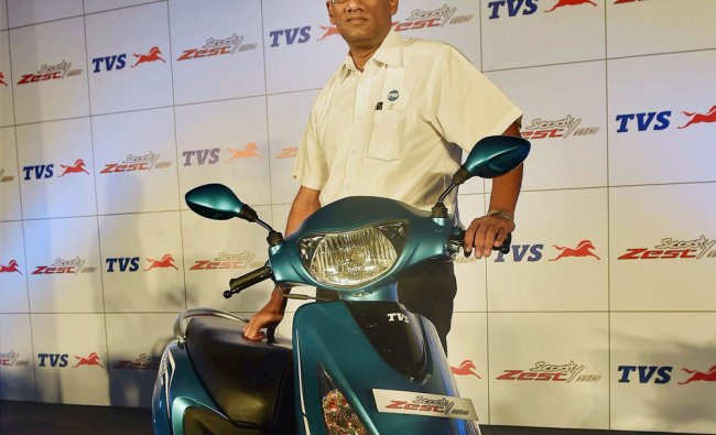 J Sreenivasan, Vice President, Sales, TVS Motor Company, at the launch of TVS Scooty Zest 110 ...