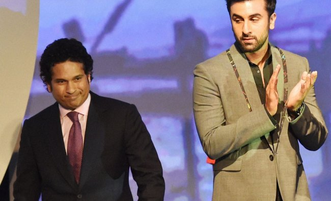 Team owners Sachin Tendulkar and Ranbir Kapoor during the launch of Indian Super League ...