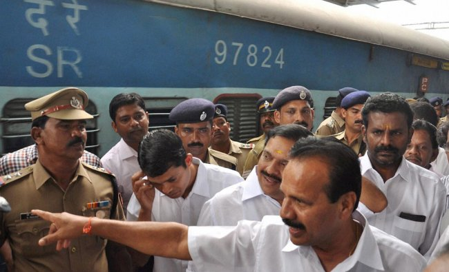Union Railway Minister Sadananda Gowda during a visit to Ernakulam railway station in Kochi ...