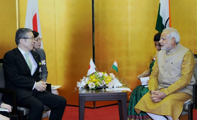 Prime Minister Narendra Modi during a meeting with CEO of Nidec Corporation, Shigenobu Nagamari...