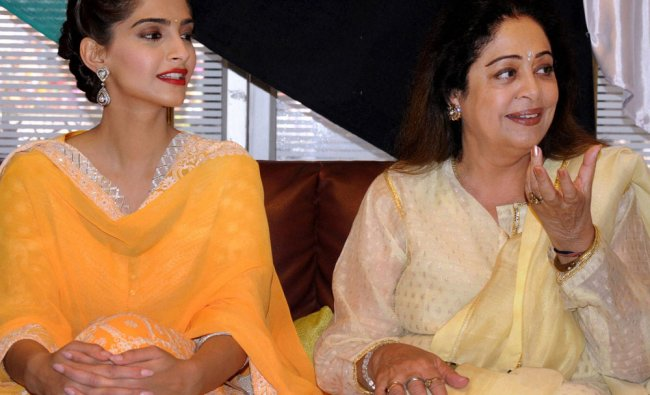 Sonam Kapoor and Kirron Kher during a promotional event for their upcoming film Khoobsurat...