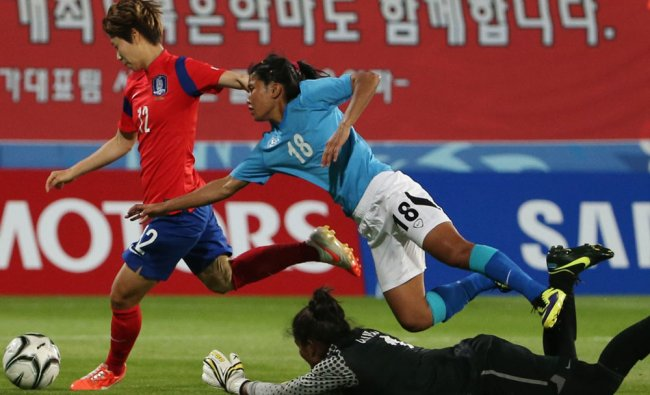 Younga Yoo, shoots past India\'s Umapatidevi Thokchom at women\'s first round group A soccer match...