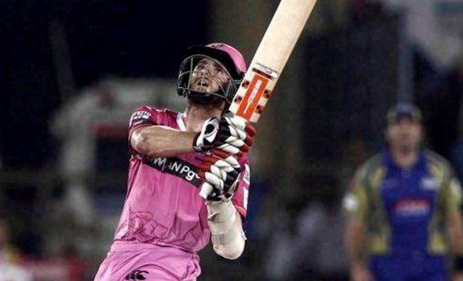 Northern Knights batsman Kane Williamson hits a six against Cape Cobras