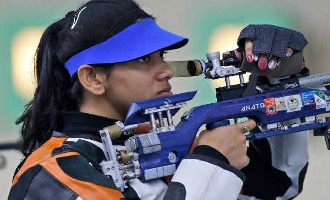India\'s Ayonika Paul competes during the Women\'s 10m Air Rifle shooting competition at the...