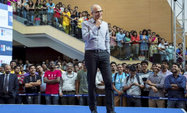 Microsoft CEO Satya Nadella interacts with the employees during a visit to the company\'s ...