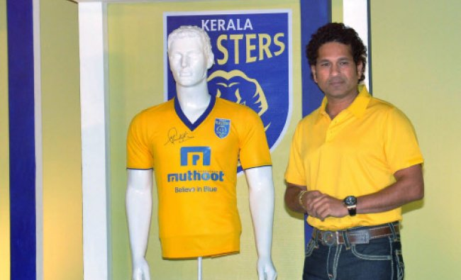 Cricket legend and owner of Kerala Blasters football team Sachin Tendulkar during the...