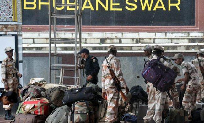 Bhubaneswar: ITBP Jawans prepare to leave to help in cyclone Hudhud relief in Bhubaneswar on...
