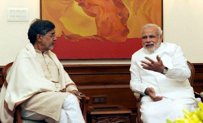 Prime Minister Narendra Modi meets Nobel Peace Prize awardee from India, Kailash Satyarthi...