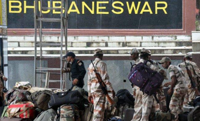 ITBP Jawans prepare to leave to help in cyclone Hudhud relief in Bhubaneswar...