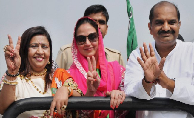 Bollywood actress Esha Deol during a road show for BJP...