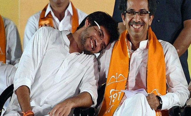 Uddhav Thackeray along with Yuva Sena President Aditya Thackeray during a rally...