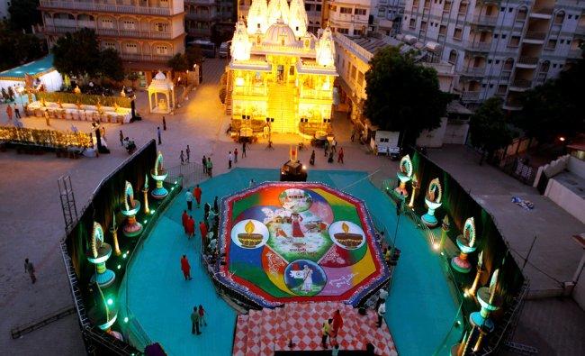 A huge rangoli in front of Swaminarayan Temple...