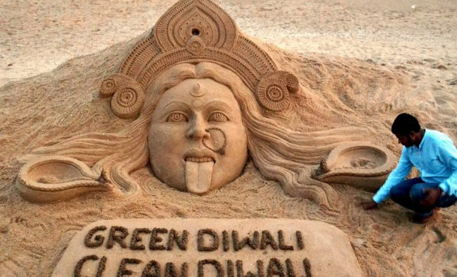 On the eve of Diwali Renowned sand artist Sudarsan Pattnaik created a sand sculpture of Kali...