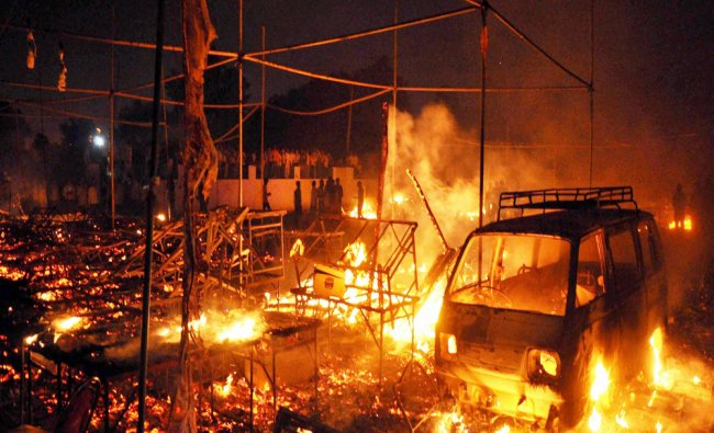 A major fire that broke out in the crackers market in Faridabad...