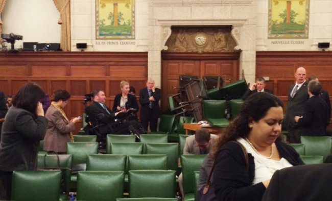 The Conservative Party caucus room is shown shortly after shooting began on Parliament Hill...