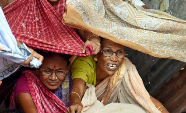 Devotees collecting Puja Pasadam during Govardhan Puja