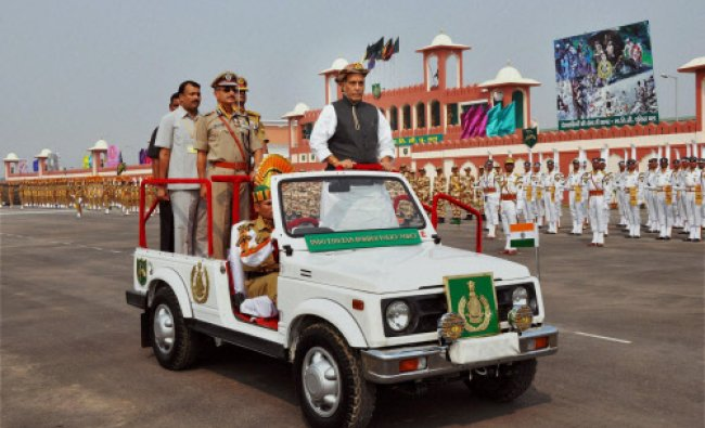 Union Home Minister Rajnath Singh inspecting