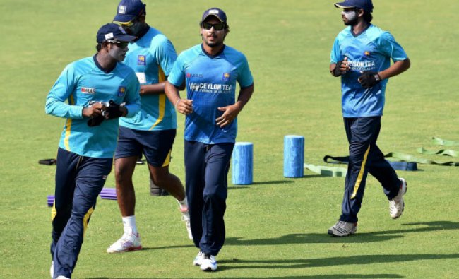 Sri Lankan team during practice session before the match against India A...