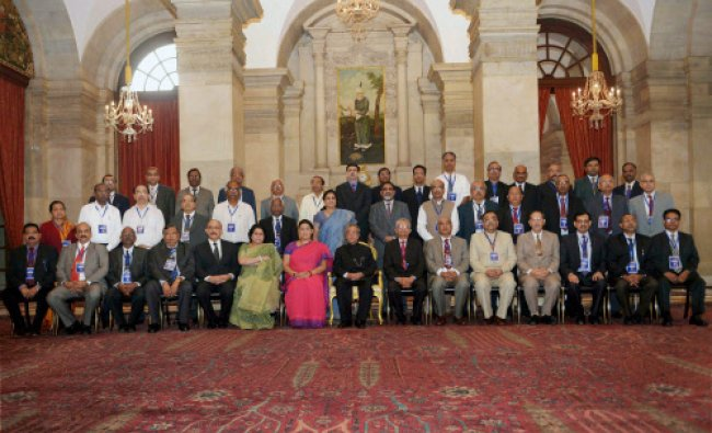 President Pranab Mukherjee during the conference of directors of National Institutes...