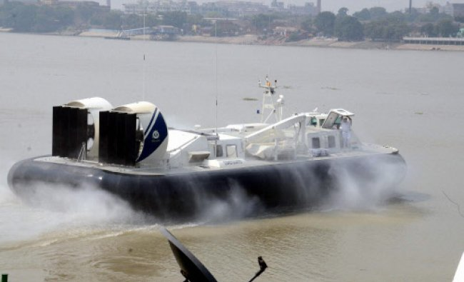 The Navy hovercraft carrying West Bengal Chief Minister Mamata Banerjee to Sagar Island...